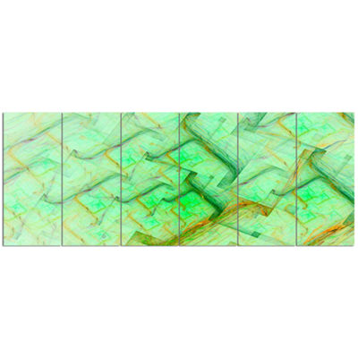Light Green Electric Lightning Abstract Art On Canvas - 6 Panels
