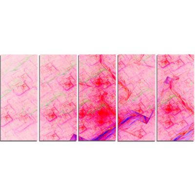 Pink Fractal Electric Lightning Abstract Art On Canvas - 5 Panels