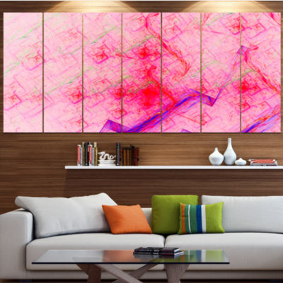 Pink Fractal Electric Lightning Abstract Art On Canvas - 7 Panels