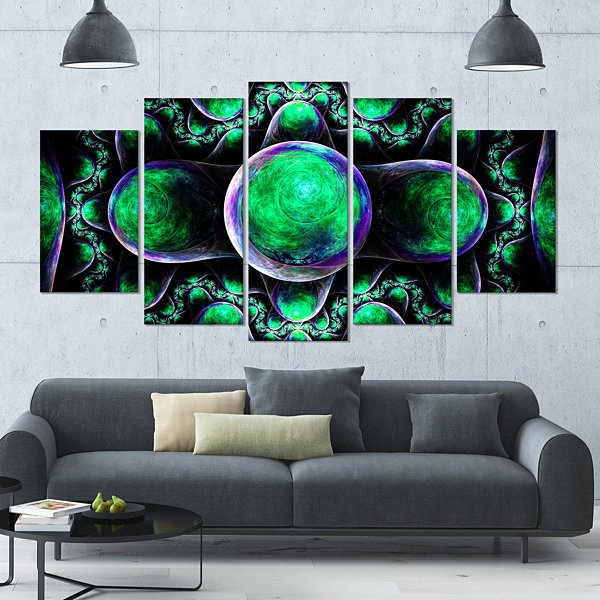 Green Exotic Fractal Pattern Contemporary Art On Canvas - 5 Panels