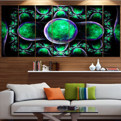 Green Exotic Fractal Pattern Abstract Art On Canvas - 7 Panels
