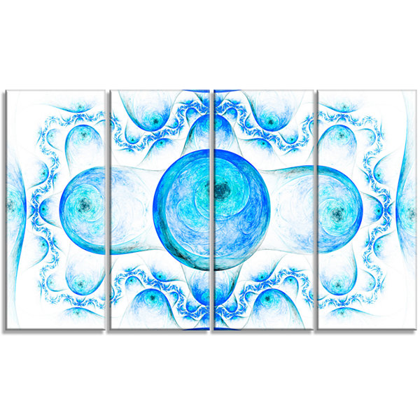 Designart Blue Exotic Fractal Pattern Abstract ArtOn Canvas- 4 Panels