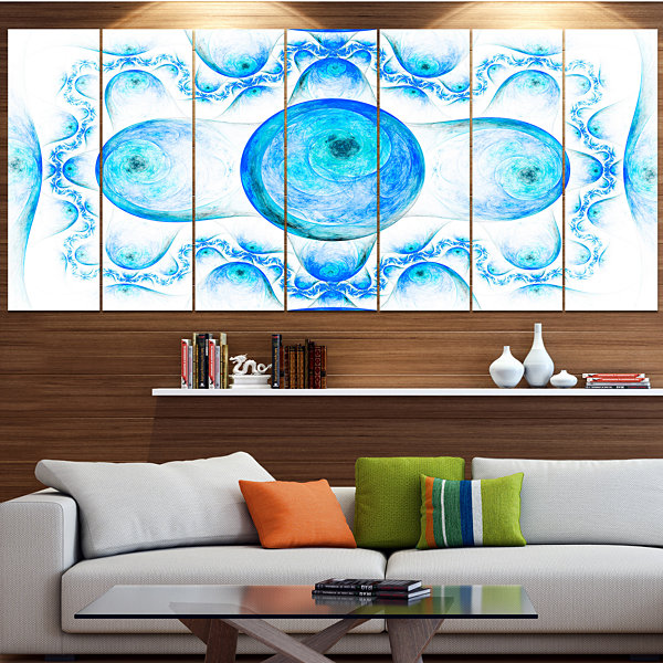 Designart Blue Exotic Fractal Pattern Abstract ArtOn Canvas- 7 Panels