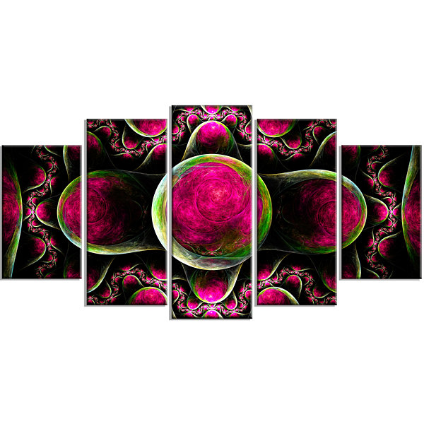 Pink Exotic Fractal Pattern Contemporary Art On Canvas - 5 Panels