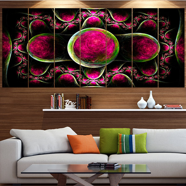 Pink Exotic Fractal Pattern Abstract Art On Canvas- 5 Panels