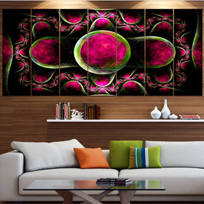 Pink Exotic Fractal Pattern Abstract Art On Canvas- 7 Panels