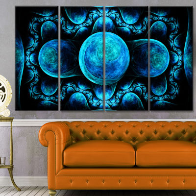Blue Exotic Pattern On Black Abstract Art On Canvas - 4 Panels