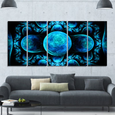 Blue Exotic Pattern On Black Abstract Art On Canvas - 5 Panels