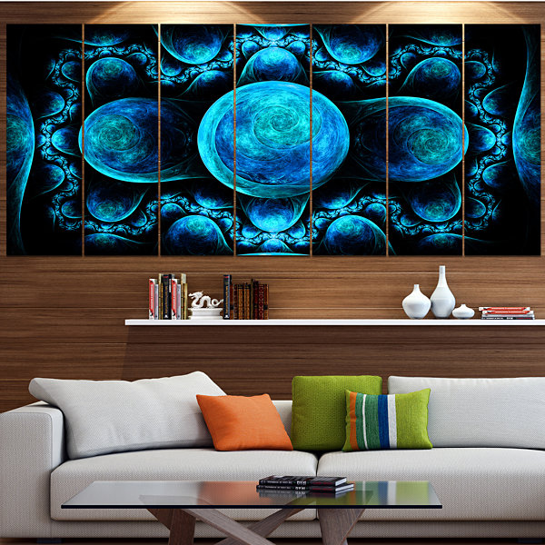 Designart Blue Exotic Pattern On Black Abstract Art On Canvas - 5 Panels