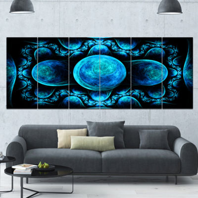 Designart Blue Exotic Pattern On Black Abstract Art On Canvas - 6 Panels