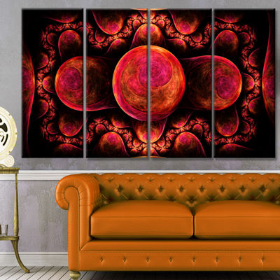 Red Exotic Fractal Pattern Abstract Art On Canvas-4 Panels