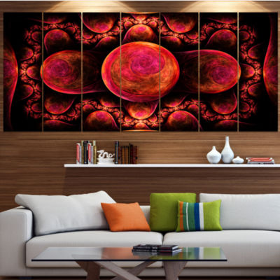 Red Exotic Fractal Pattern Abstract Art On Canvas-7 Panels
