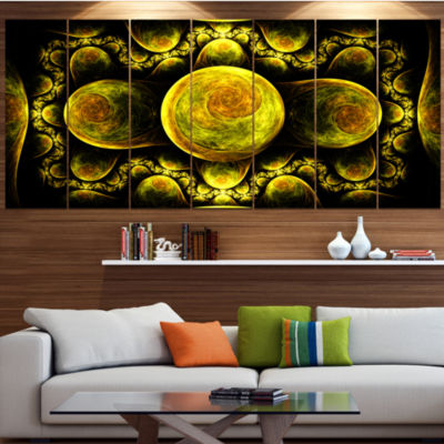 Yellow Exotic Fractal Pattern Abstract Art On Canvas - 4 Panels