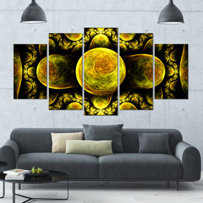 Yellow Exotic Fractal Pattern Contemporary Art OnCanvas - 5 Panels