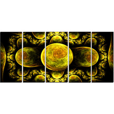 Yellow Exotic Fractal Pattern Abstract Art On Canvas - 5 Panels