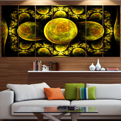 Yellow Exotic Fractal Pattern Abstract Art On Canvas - 7 Panels