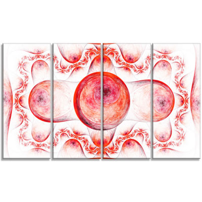 Red Exotic Pattern On White Abstract Art On Canvas- 4 Panels