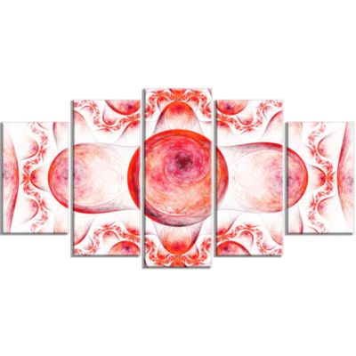 Red Exotic Pattern On White Contemporary Art On Canvas - 5 Panels