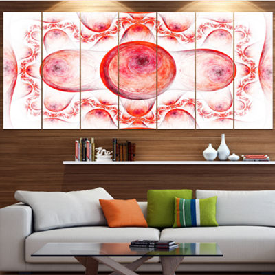 Red Exotic Pattern On White Abstract Art On Canvas- 5 Panels