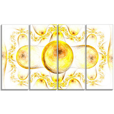 Yellow Exotic Pattern On White Abstract Art On Canvas - 4 Panels