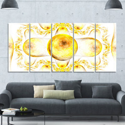 Yellow Exotic Pattern On White Abstract Art On Canvas - 5 Panels