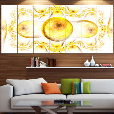 Yellow Exotic Pattern On White Abstract Art On Canvas - 6 Panels
