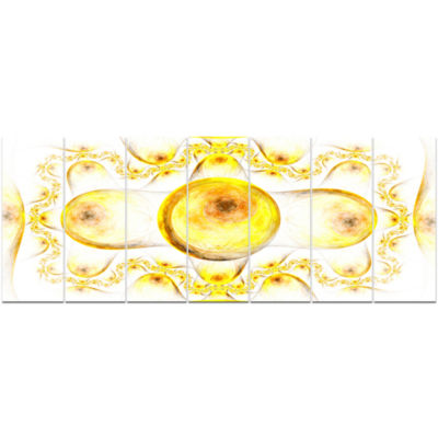 Yellow Exotic Pattern On White Abstract Art On Canvas - 7 Panels