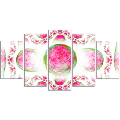 Pink Exotic Pattern On White Contemporary Art On Canvas - 5 Panels