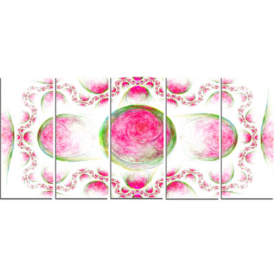Pink Exotic Pattern On White Abstract Art On Canvas - 5 Panels