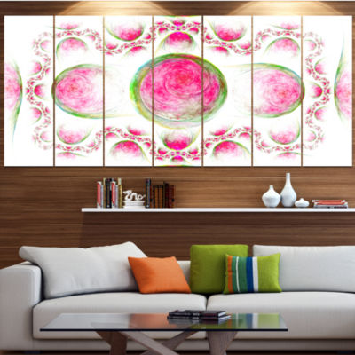 Pink Exotic Pattern On White Abstract Art On Canvas - 6 Panels