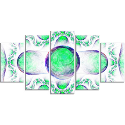 Green Exotic Pattern On White Contemporary Art OnCanvas - 5 Panels