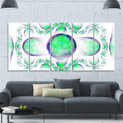 Green Exotic Pattern On White Abstract Art On Canvas - 5 Panels