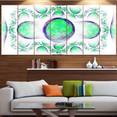 Green Exotic Pattern On White Abstract Art On Canvas - 6 Panels