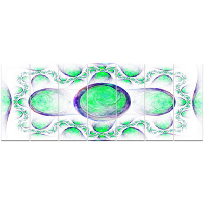 Green Exotic Pattern On White Abstract Art On Canvas - 7 Panels