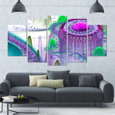 Purple Fractal Infinite World Contemporary Art OnCanvas - 5 Panels