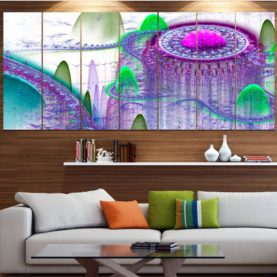 Purple Fractal Infinite World Abstract Art On Canvas - 7 Panels