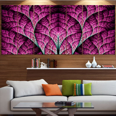 Exotic Pink Biological Organism Abstract Art On Canvas - 4 Panels