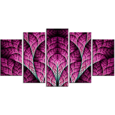 Exotic Pink Biological Organism Contemporary Art On Canvas - 5 Panels