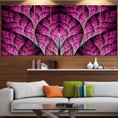 Exotic Pink Biological Organism Abstract Art On Canvas - 7 Panels