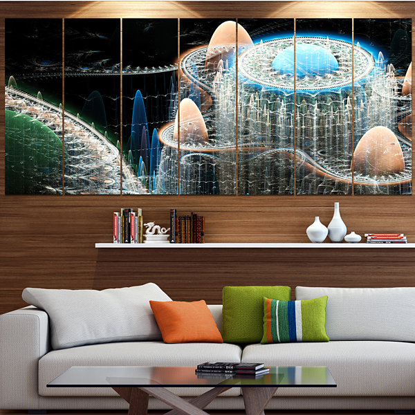 Designart Blue Fractal Infinite World ContemporaryArt On Canvas - 5 Panels