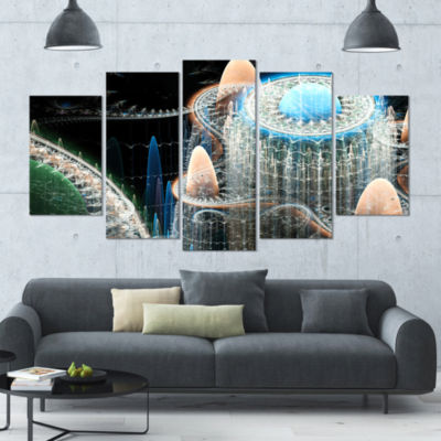 Blue Fractal Infinite World Contemporary Art On Canvas - 5 Panels