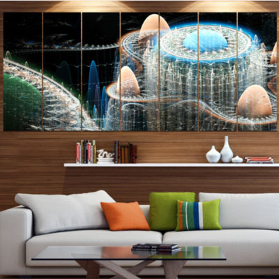 Designart Blue Fractal Infinite World Abstract ArtOn Canvas- 7 Panels