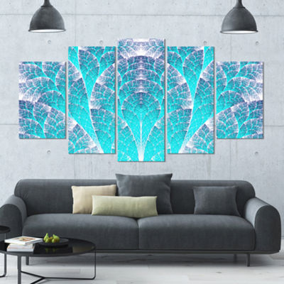 Exotic Blue Biological Organism Contemporary Art On Canvas - 5 Panels