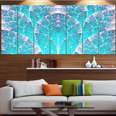 Exotic Blue Biological Organism Abstract Art On Canvas - 7 Panels