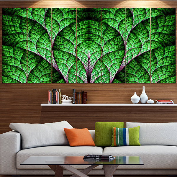 Exotic Green Biological Organism Abstract Art On Canvas - 5 Panels