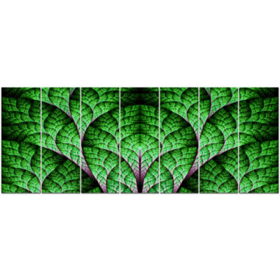 Exotic Green Biological Organism Abstract Art On Canvas - 7 Panels