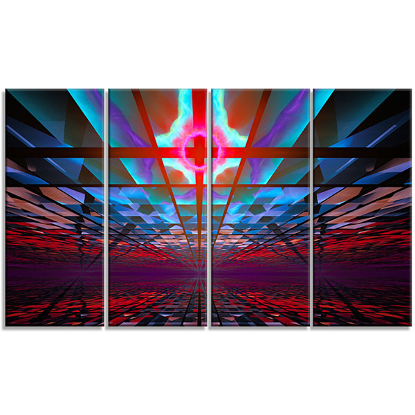 Designart Blue Cosmic Horizons Apocalypse AbstractArt On Canvas - 4 Panels