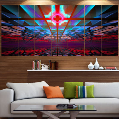 Blue Cosmic Horizons Apocalypse Contemporary Art On Canvas - 5 Panels