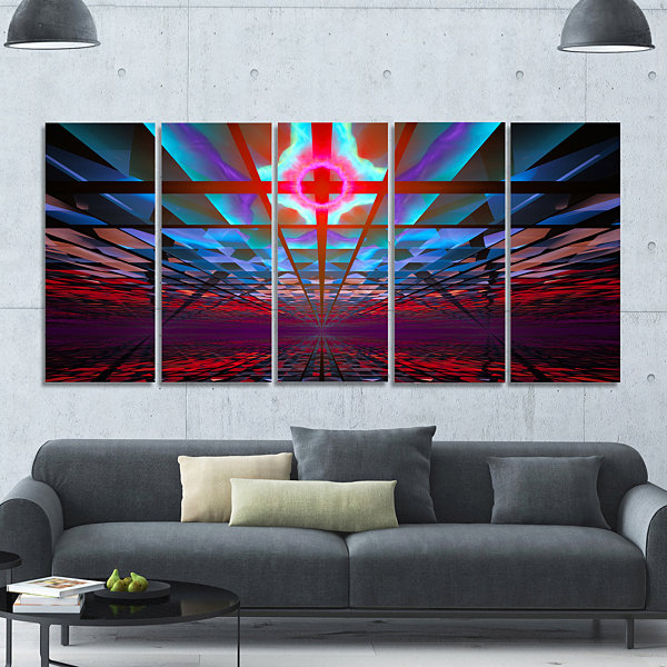 Designart Blue Cosmic Horizons Apocalypse AbstractArt On Canvas - 5 Panels