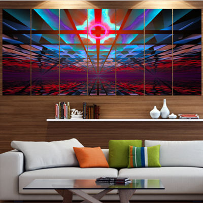 Designart Blue Cosmic Horizons Apocalypse AbstractArt On Canvas - 6 Panels